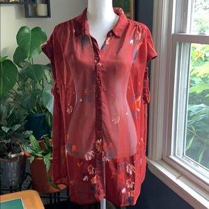 Ava & Viv sheer floral sleeveless blouse
